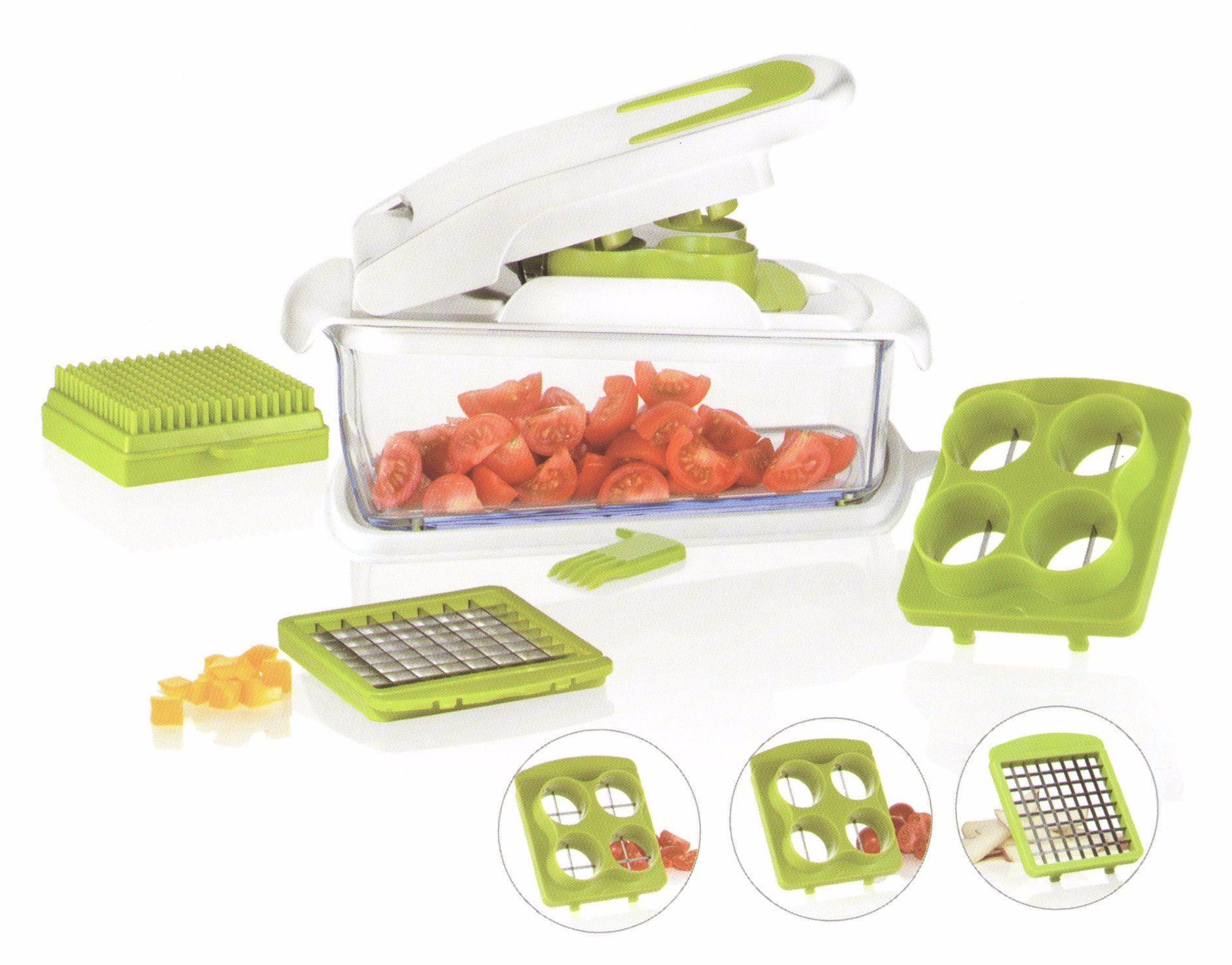 3 in 1 Plastic Food Processor Vegetable Chopper Cutting Machine Cg061