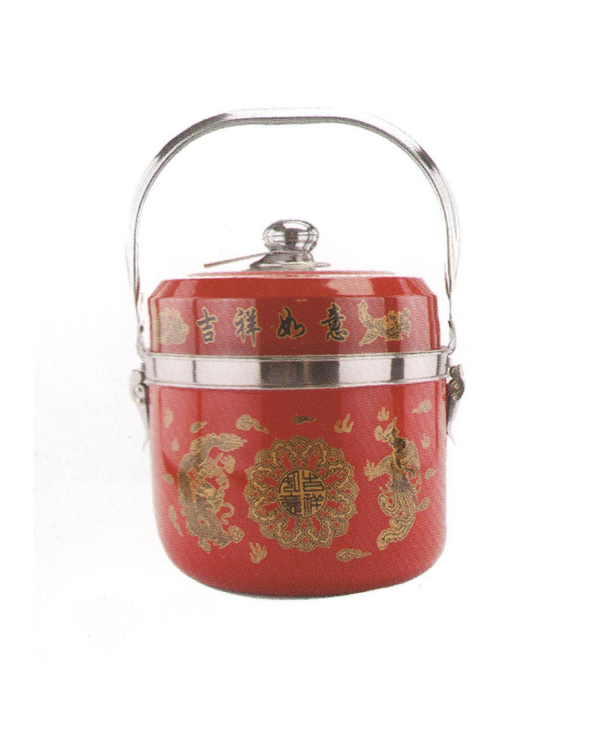 Fashion Stainless Steel Decorative Pattern Fire Free Reboiler Pot with Handle Cp017