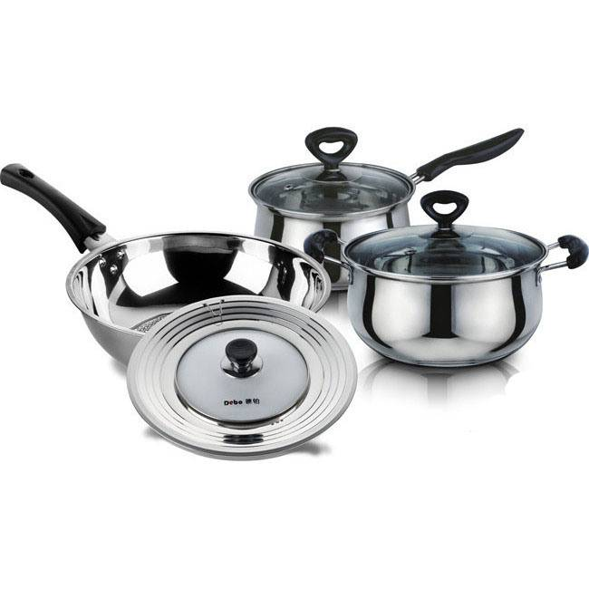 Stainless Steel Cookware Set Cooking Pot Casserole Frying Pan S118