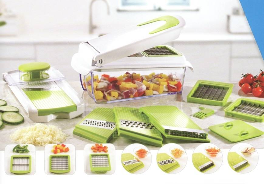 7 in 1 Home Appliance Plastic Food Processor Vegetable Chopper Cutting Machine Set Cg056