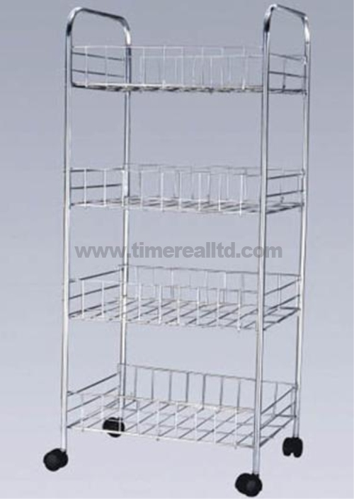 Chrome 4 Tiers Wire Steel Kitchen Storage Cart Sr-B005
