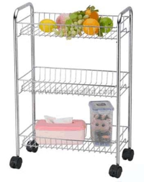 Chrome 3 Tiers Steel Kitchen Storage Rack Sr-B001