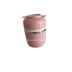 Nature Wheat Straw Pink Lunch Box 2 Layeres-No.Nw005-Dinnerware