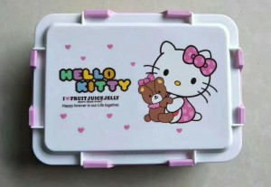 Hello Kitty Children Lunch Box With Plastic Cover-No. Lb24-Kitchen Utensils