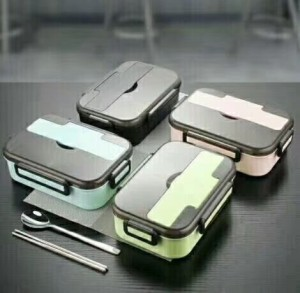 2 Grids Stainless Steel And Plastic Lunch Box With Spoon And Chopsticks-No. Lb21-Kitchen Utensils