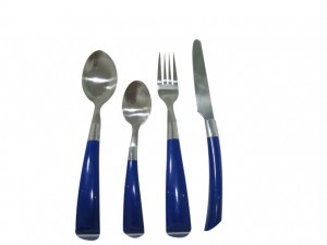 24PCS Stainless Steel Dinner Cutlery Set with Colorful Plastic Handle No. CT24-P08