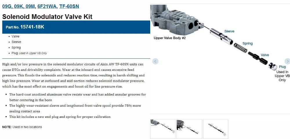 09G, 09K, 09M, 6F21WA, TF-60SN,Solenoid Modulator Valve Kit