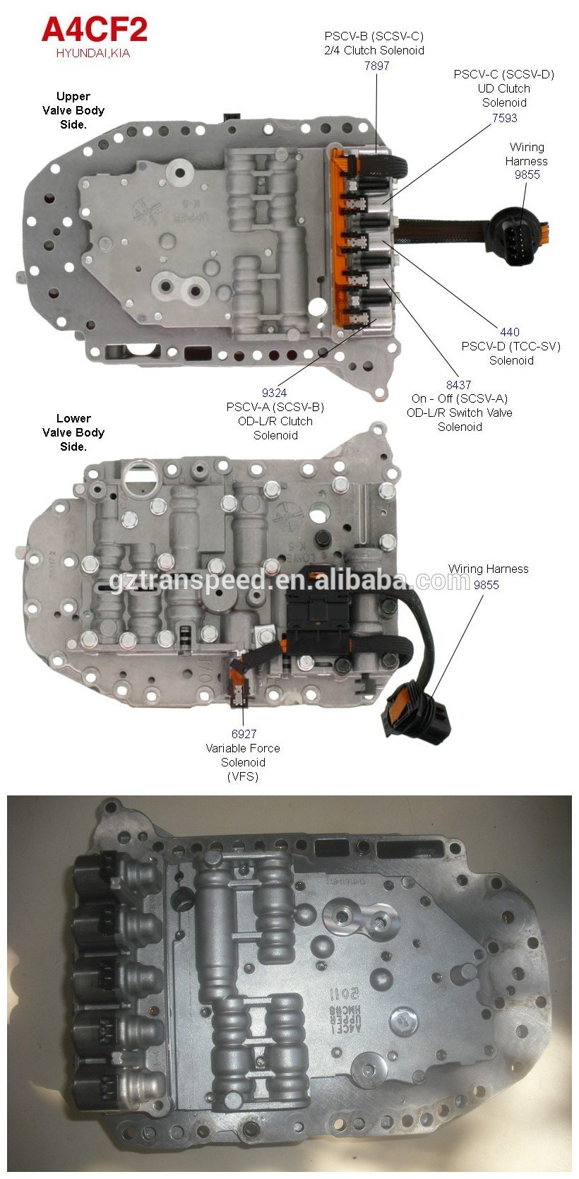 A4CF2 automatic transmission gearbox valve body