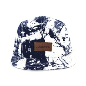 plain printed custom 5 panel cap with leather patch