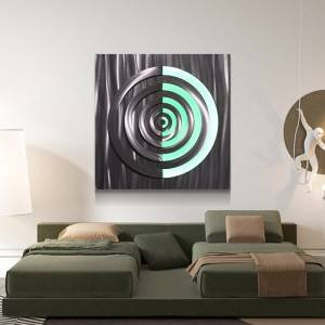 Abstract circle 3D metal LED painting for interior home wall arts decor 100% handmade from China