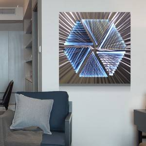 Abstract LED metal brush aluminum painting for modern home decoration wall arts wholesale