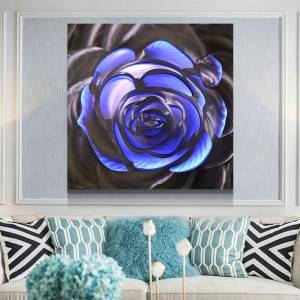 Rose LED metal laser painting modern home wall arts decor wholesale from China supplier