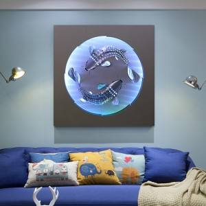 Koi fish LED metal painting modern home wall arts decor wholesale from China manufacturer