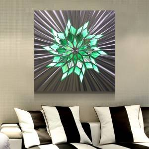 Abstract flower metal LED painting brush aluminum wall arts modern home decor wholesale from China manufacturer