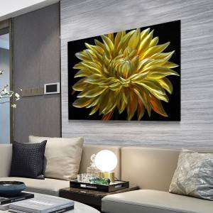 yellow gold chrysanthemum blossom flower 3D metal oil painting modern wall arts wholesale