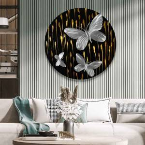 silver butterfly 3D circle 3D metal oil painting modern interior wall arts wholesale from China factory