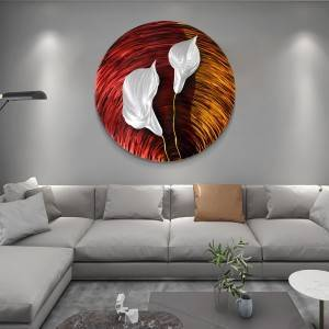 silver Calla lily flower 3D circle metal oil painting modern wall handycraft wholesale from China factory
