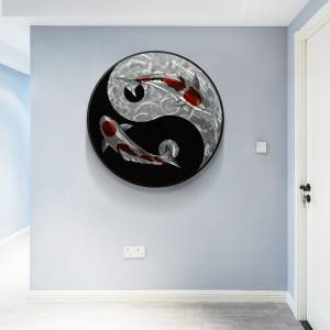 Yinyang Tai Chi Koi Circle 3D Metal Oil Painting for Interior Modern Decoration Handicraft Wall Arts