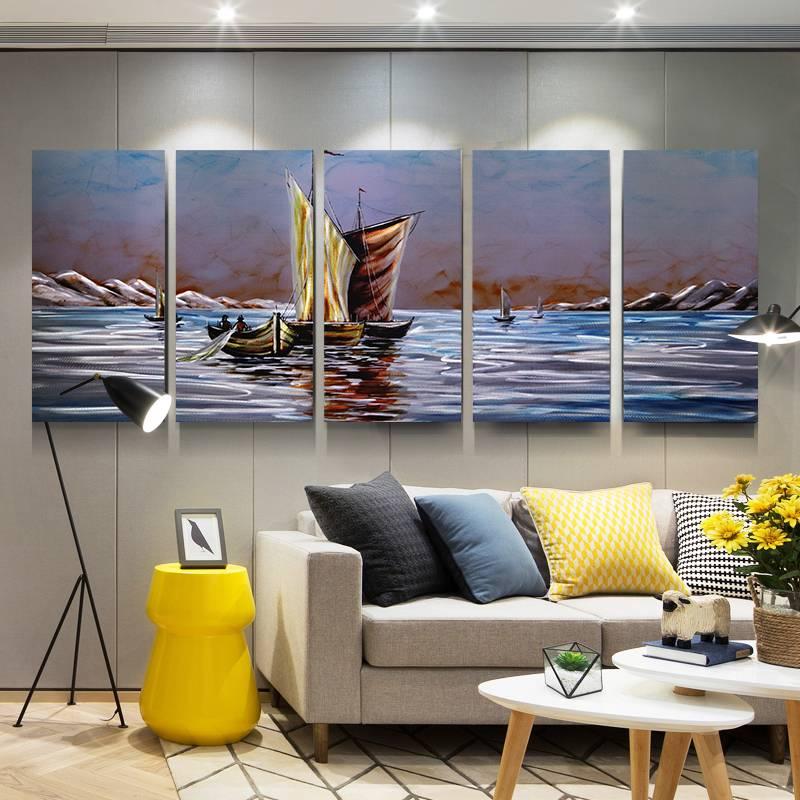 saling boat in peace lake 3D metal aluminum oil painting modern wall arts decor 100% handmade Featured Image