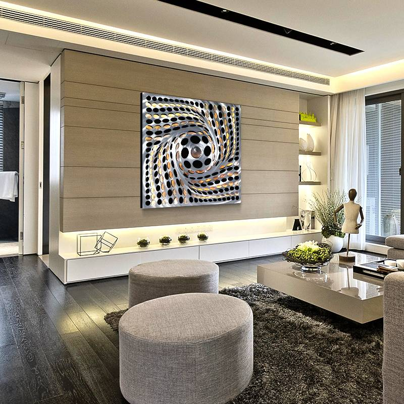 Abstract swirl metal LED painting for modern wall art decor wholesale from China manufacturer Featured Image