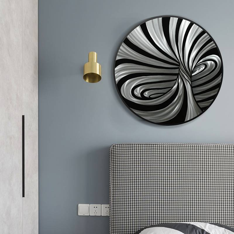 Circle 3D Metal Abstract Oil Painting for Interior Home Modern Decoration Handicraft Wall Arts