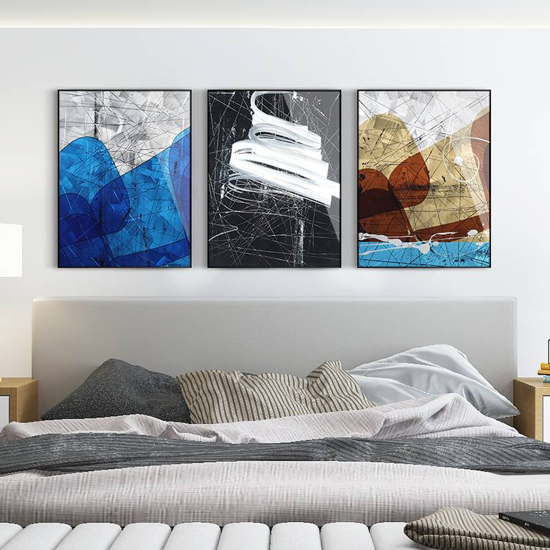 3D brush print abstract metal oil painting wall art interior decor