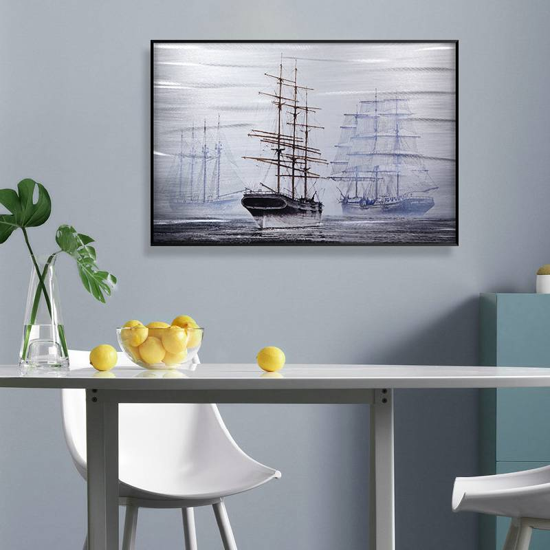 3D brush print boat metal oil painting wall art interior decor