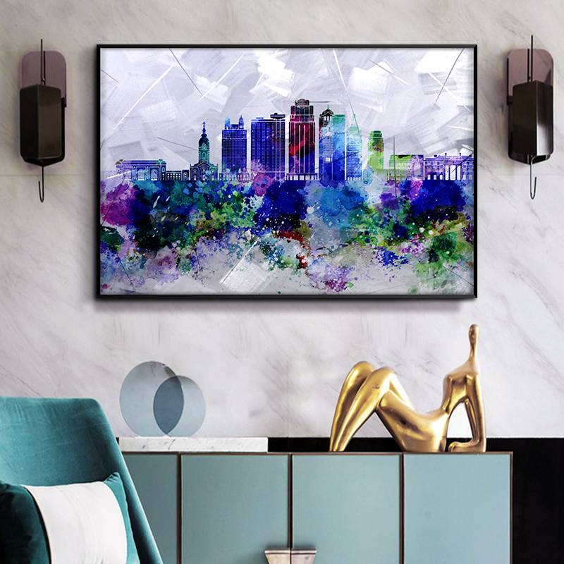 3D brush print modern city skyline metal oil painting wall art interior decor