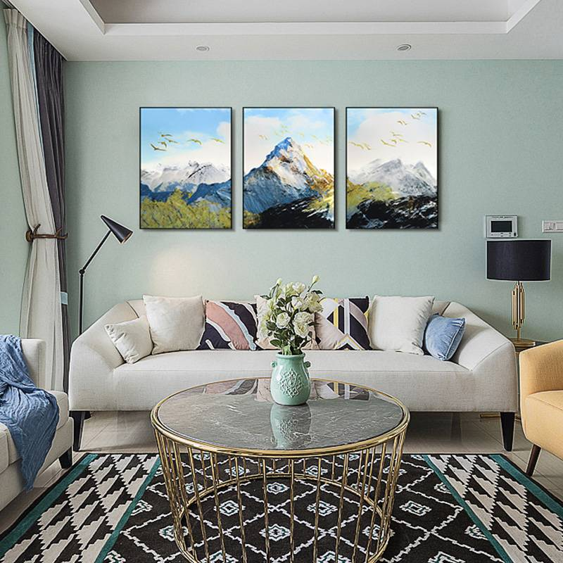 3D brush print mountains metal oil painting wall art interior decor