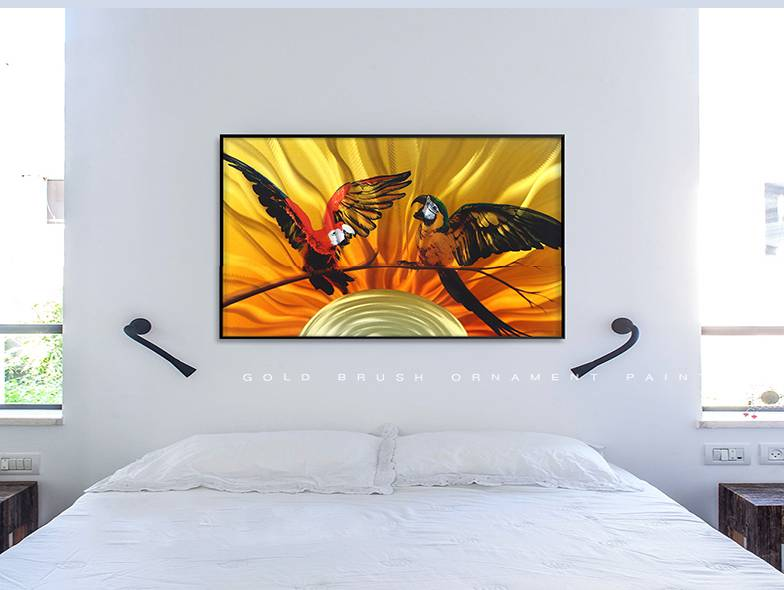 3D brush print parrot metal oil painting wall art interior decor