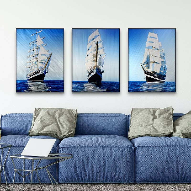 3D brush print sailing boats metal oil painting wall art interior decor