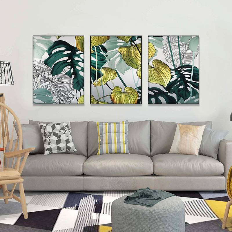 3D brush print tropical plant metal oil painting wall art interior decor