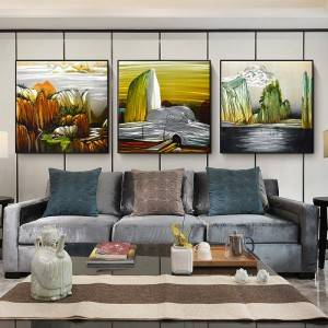 3D handmade landscape metal oil painting interior wall arts decor