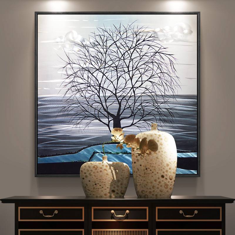 3D handmade tree metal oil painting interior wall arts decor