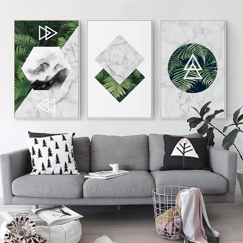 3D print plant metal oil painting wall art interior decor