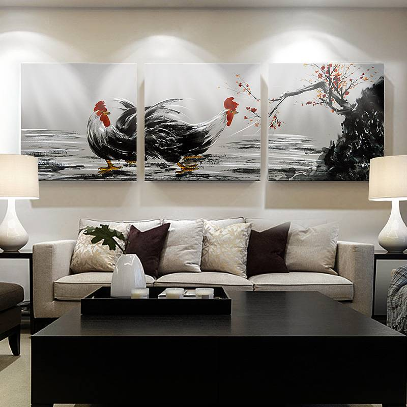Rooster animal 3D metal oil painting acrylic frame wall art crafts modern interior house multi panels decor