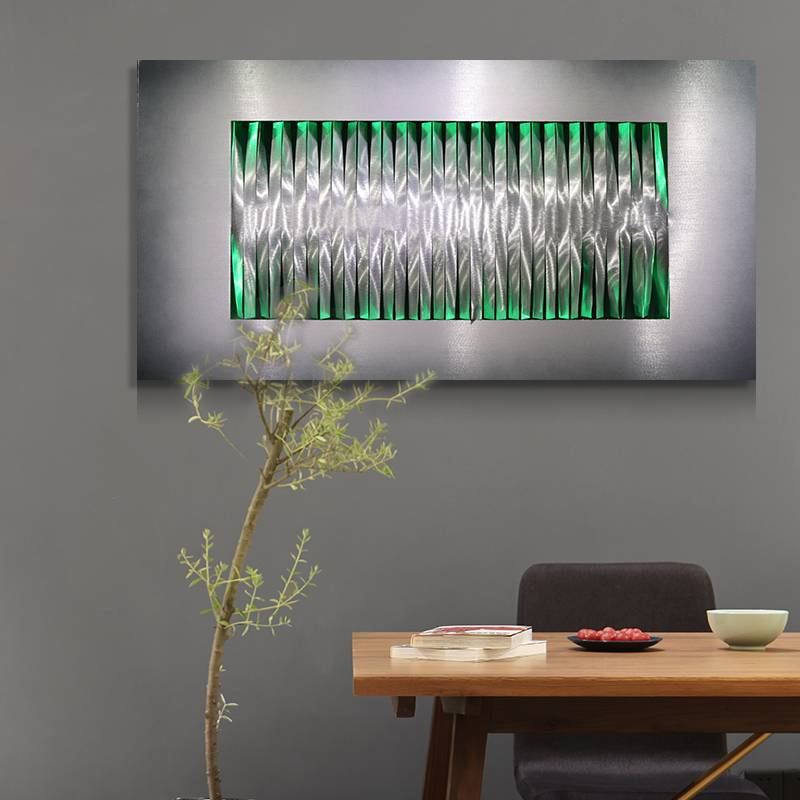 Abstract metal LED laser painting modern home decor wall arts with lights wholesale from China