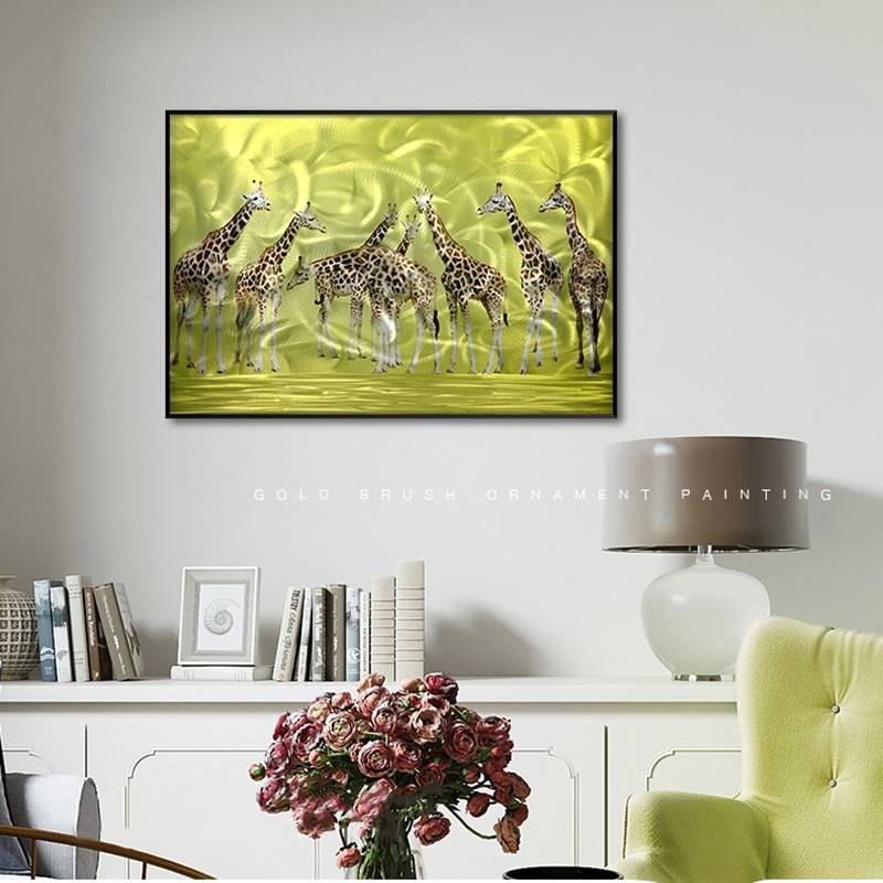 3D brush print giraffe metal oil painting wall art interior decor