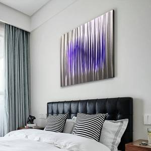 Abstract metal LED laser painting brush aluminum wall arts modern interior decor wholesale from China factory