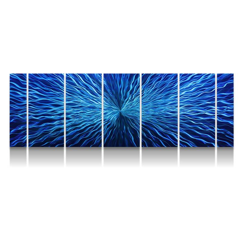 Abstract blue 3D metal oil painting modern interior wall arts decor 100% handmade