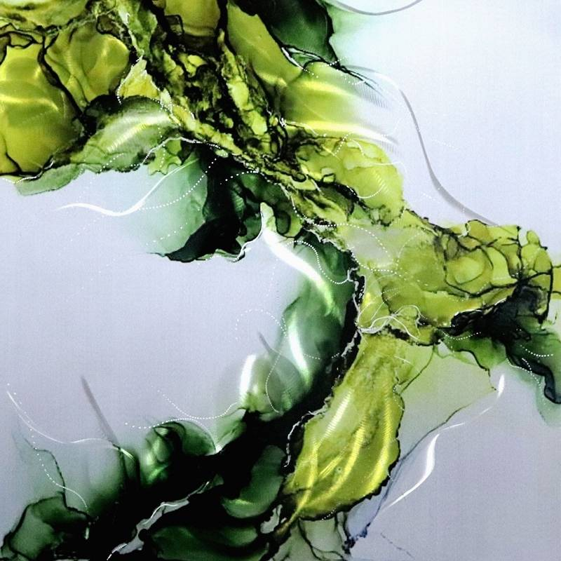 Green abstract 3D metal oil painting interior modern wall decor arts 100% handmade