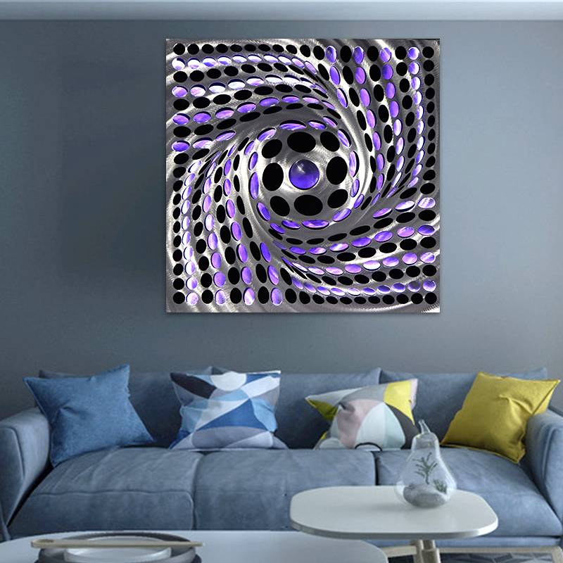 Abstract swirl metal LED painting for modern wall art decor wholesale from China manufacturer