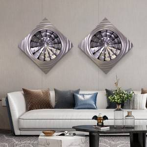 Abstract circle swirl metal LED painting brush aluminum wall arts modern home decor wholesale