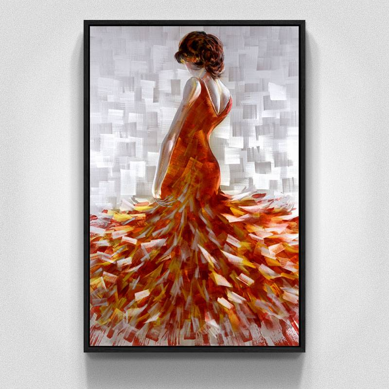 100% hand paint elegant lady 3D metal oil painting for interior decor wall arts