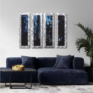 Abstract 3D blue black silver metal wall sculpture modern home decor wall crafts wholesale from China