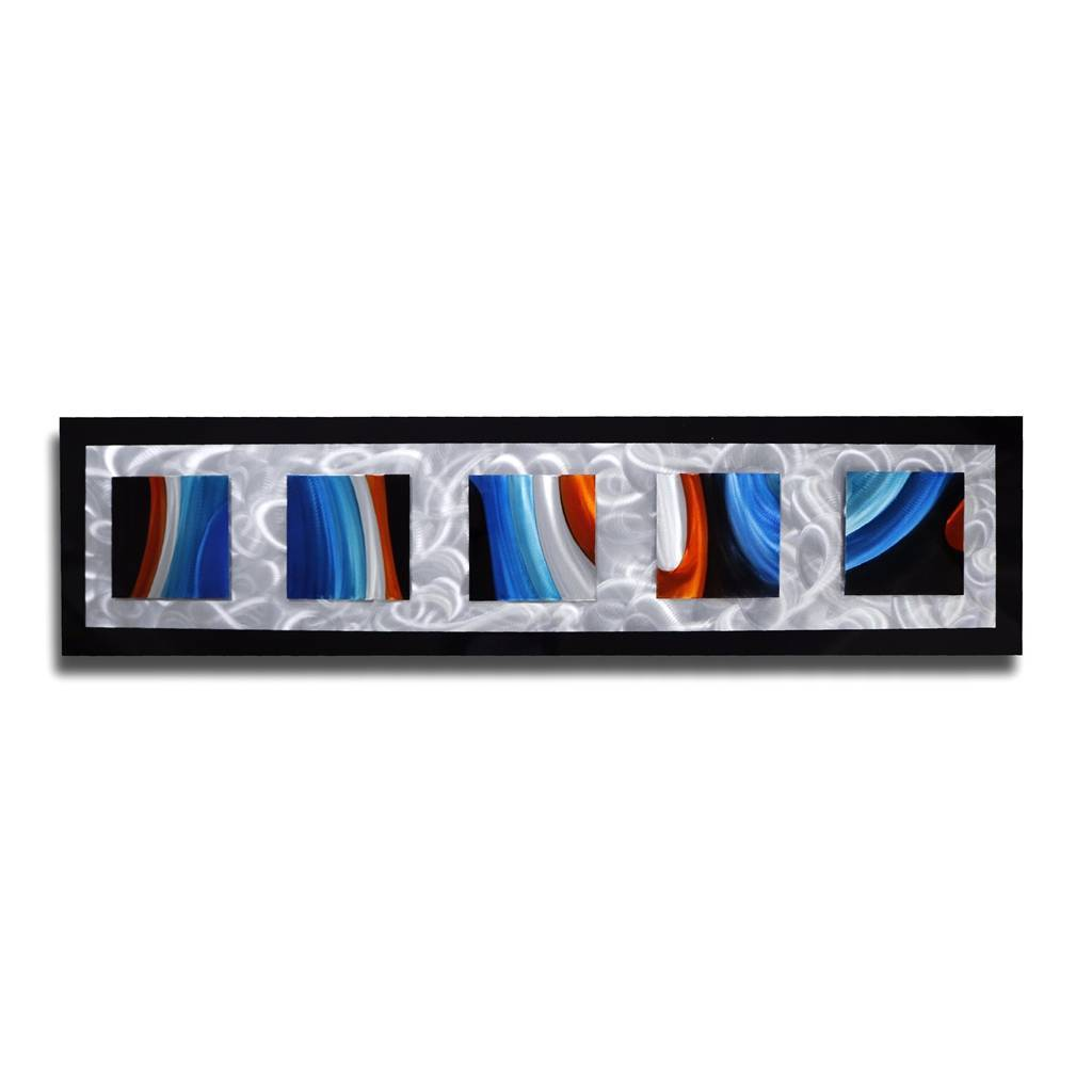 Blue silver black abstract 3D metal layered wall sculpture modern home arts wall crafts wholesale from China
