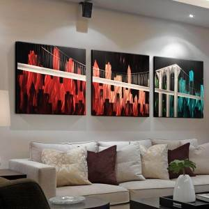 100% hand paint modern city bridge 3D metal oil painting for interior decor wall arts