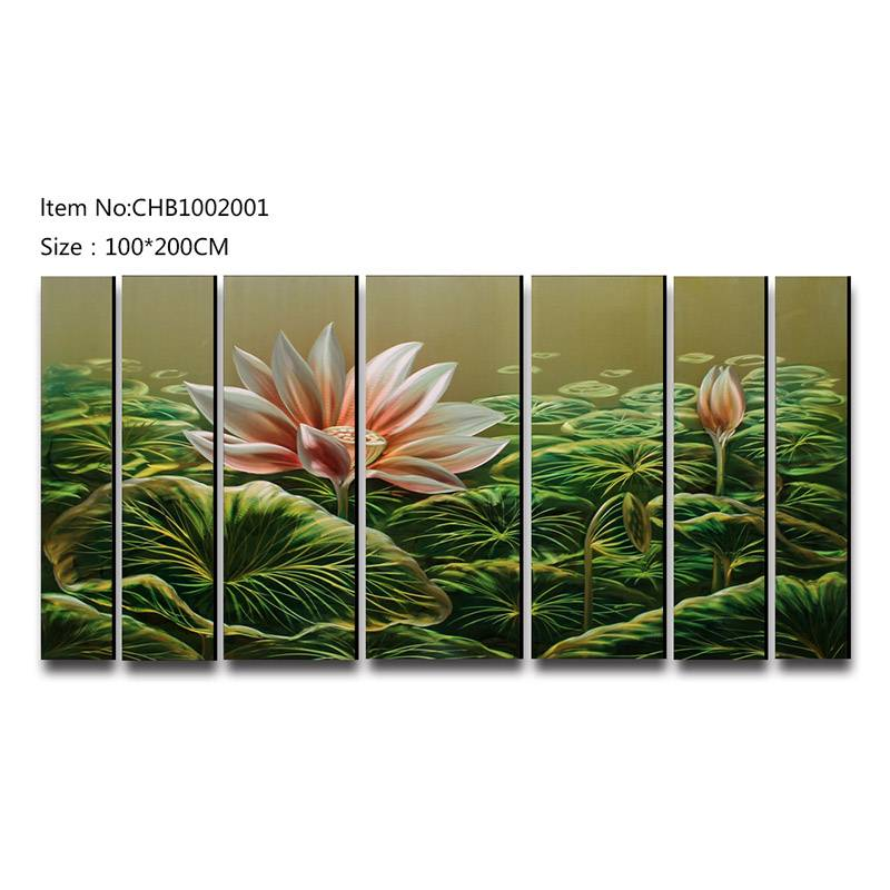 7pcs lotus flower handpaint xxl size metal oil painting wall arts crafts