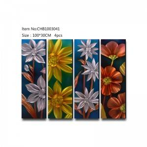 Flowers 3D hanpaint metal oil painting modern wall arts home decor
