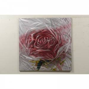 Rose red handmade metal oil painting wall arts home decoration
